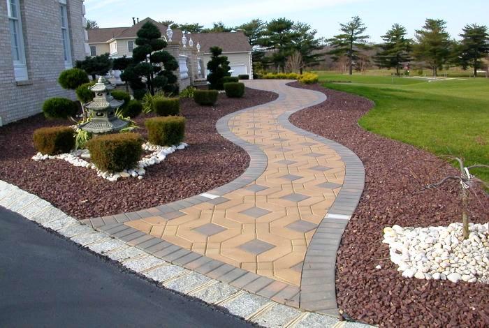Фото ландшафтный дизайн тротуарная плитка